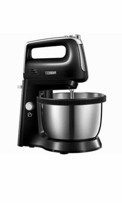 2 in 1 Hand Electric Stand Mixer with Rotating Bowl, 5 Speed