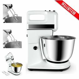 250W Electric Hand Mixer with Stand, Dough Hooks Beaters & S