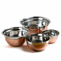 4 Stainless Steel Copper Finish Euro Style Mixing Bowl Set 5