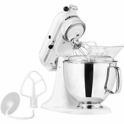 5 Quart Tilt-Head Stand Mixer White Stainless Steel Bowl 10