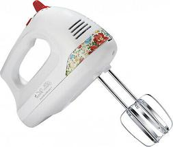 Hand Mixer 6-Speed Motor With Vintage Floral Snap-On Case An