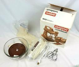 WARING 6 Speed Stand Mixer Almond Glass Bowl Made in USA Han