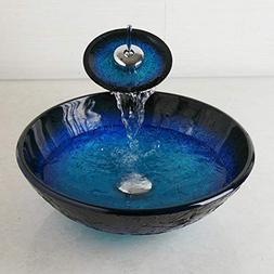 FidgetFidget Bath Bathroom Tempered Glass Vessel Sink Bowl w