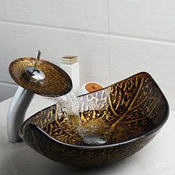 FidgetFidget AS Bathroom Fallen leaves Glass Vessel Sink Bow