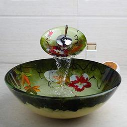 FidgetFidget Bathroom Round Vessel Sink Drain Mixer Faucet G