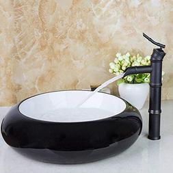 FidgetFidget Black Ceramic Basin Bowl Lavatory Vessel Sinks
