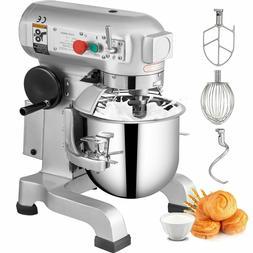 VEVOR Commercial 15Qt Dough Food Mixer Three Speed Gear Driv