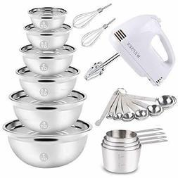 Electric Hand Mixer Mixing Bowls Set, Upgrade 5-Speeds Mixer