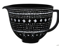 Kitchen-aid 5 Quart Ceramic Black Bowl Tapestry Pattern