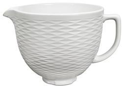 Kitchen Aid 5Qt Embossed Ceramic Mixer Bowl - White Chocolat