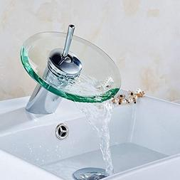 Style Kitchen Bathroom Vessel Copper Glass Round Waterfall T