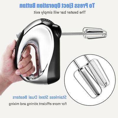 200W Stand Hand Mixer 5-Speed Hooks & Beaters Steel Bowl