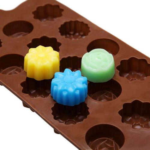 2X 15-Cavity Silicone Flower Rose Mold Ice Mould