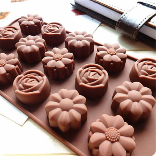 2x 15 cavity silicone flower rose chocolate