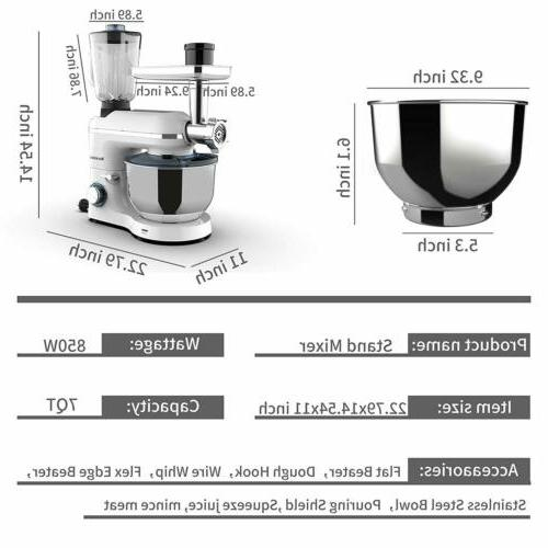 6 3in1 Stand Kitchen Food Mix Machine White
