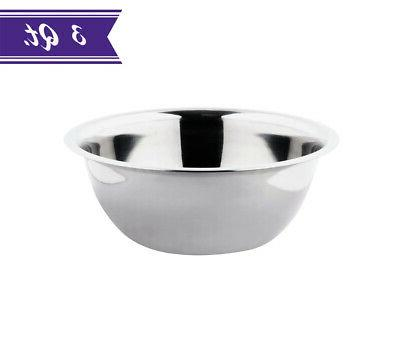 3 quart mixing bowl stainless steel polished