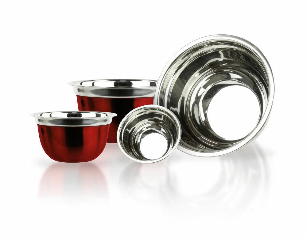 4 Stainless Steel RED Finish Euro Style Mixing Bowl Set 5,3,