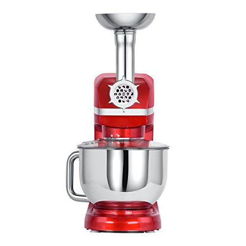 Mixer, 6 Stand Mixer Meat Grinder, Sausage Stuffer, Pasta Hook, Mixing Blade, Flat Whisk and Red