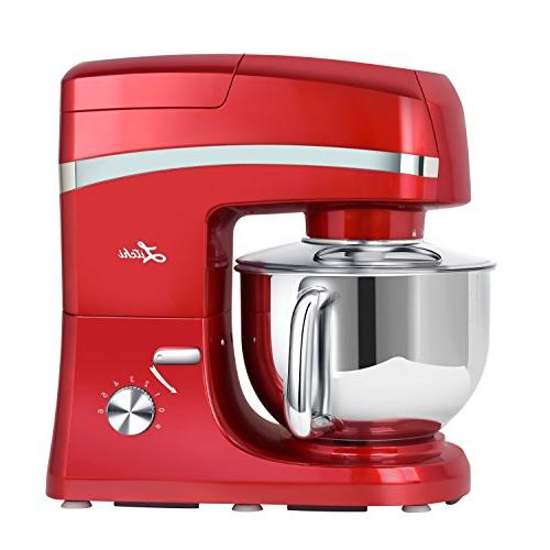 Litchi 5.3 Stand Mixer, 6 Speed Tilt-Head Stand Mixer Grinder, Blender, Sausage Stuffer, Pasta Dough Mixing Whisk Pouring Red