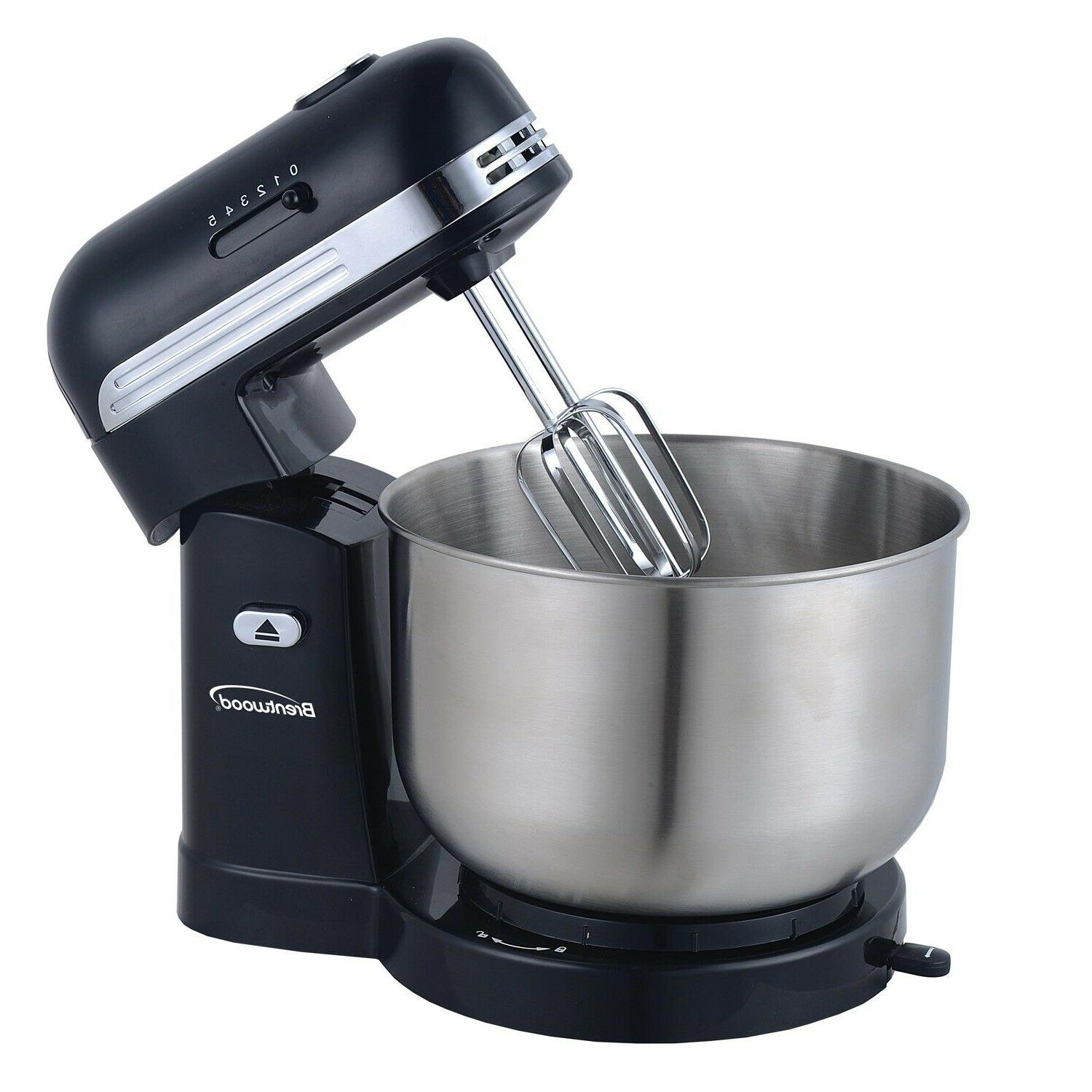 Brentwood 5-Speed Mixer with 3 Quart Steel Mixing
