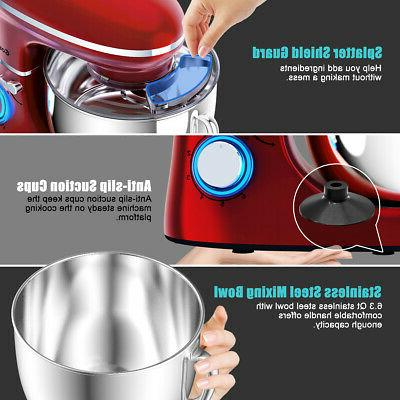 Food Stand Mixer Speed Whisk Red