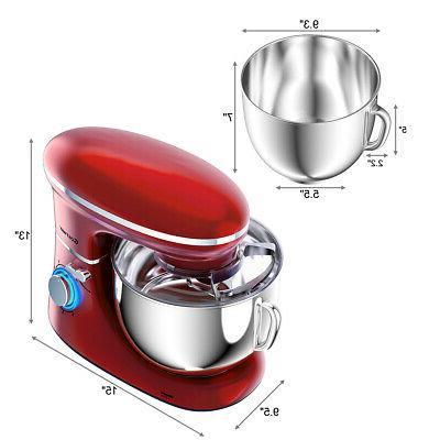 660W 6.3 Tilt-Head Food Stand Speed Dough Whisk