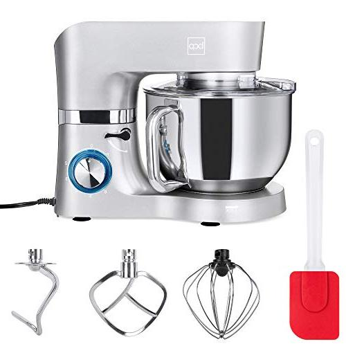 Best 6.3qt 660W Stainless Mixer w/ 3 Attachments, Scraper Guard -