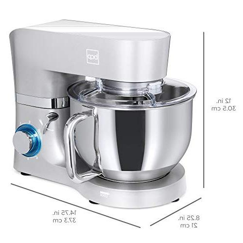 Best 6.3qt 660W Multifunctional Stainless Mixer Attachments, Spatula, Guard Silver