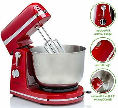 6 speed electric stand mixer with 3
