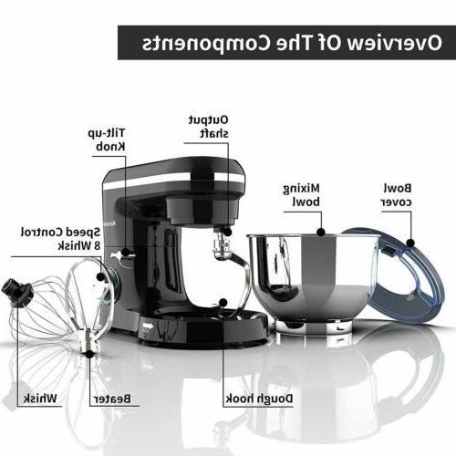 Electric 6QT Tilt-Head Stainless Bowl Speed Black