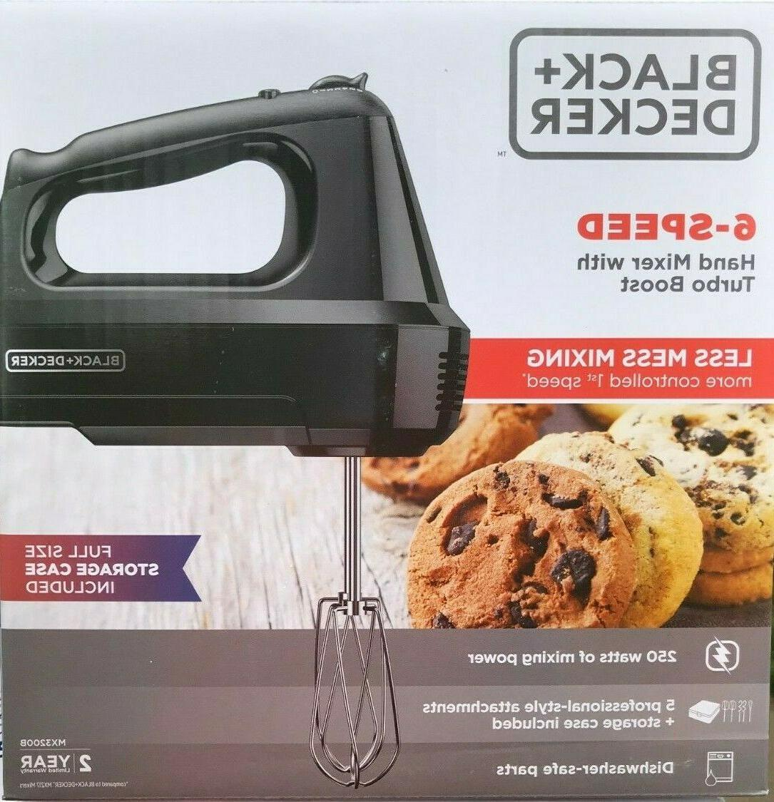BLACK+DECKER 6-Speed Hand Mixer with 5 Attachments & Storage