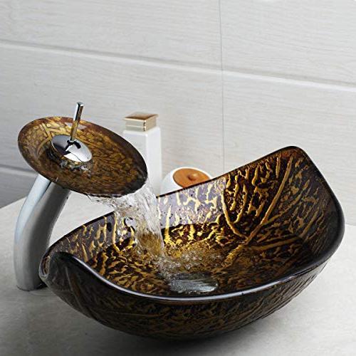 bathroom fallen leaves glass vessel