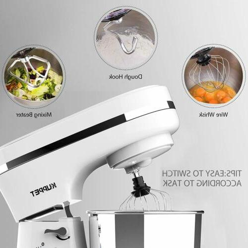 Mixer 8 Speeds Tilt-Head Stainless Steel Bowl White