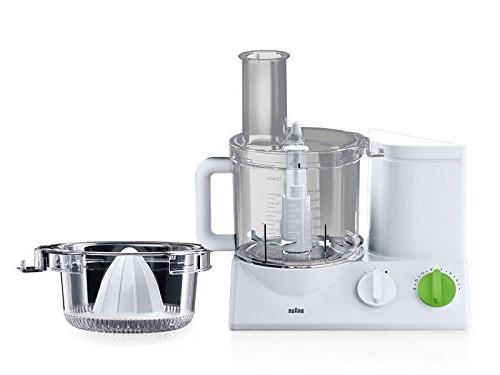Braun Food Processor Ultra Quiet Powerful 7 Attachment Blades and Citrus Juicer Made in Europe German Engineering