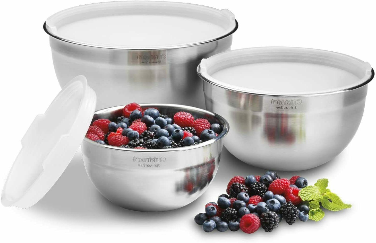 Cuisinart CTG-00-SMB Stainless Steel Mixing Bowls with Lids,