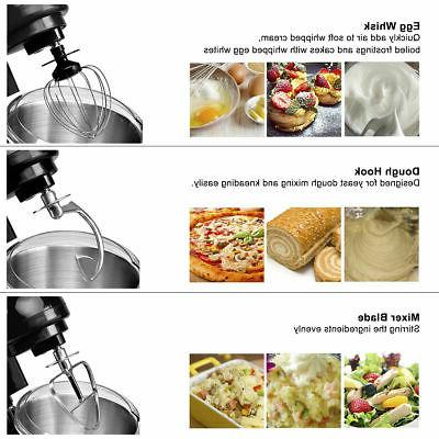6-Speed Electric Food Mixer 550W 4.3Qt Stainless Steel Bowl New