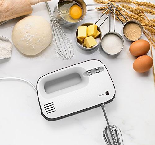 Vremi Electric Mixer 3 Storage Case - Watt Power Egg Beater Handheld Mixer Steel Heavy Small White
