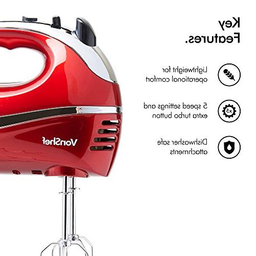 VonShef Electric Attachments, 5-Speed Button, Includes; Hooks Balloon Whisk - Red