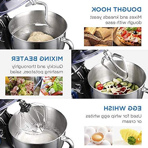 CHULUX Mixer, 660W Kitchen Electric Food Noisy, Glass Bowl, 6 Speed Control, Dough Hook, Whisk, Beater, Splash Guard, Bread, Salad