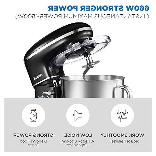CHULUX Electric 660W Food Mixer with Noisy, 5.5Qt Glass 6 Speed Hook, Whisk, Guard, for Cake, Salad