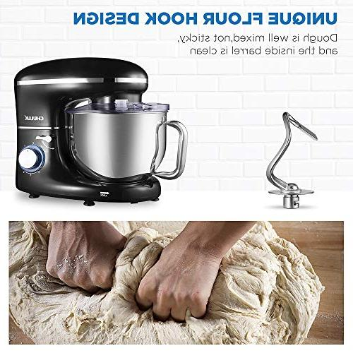 CHULUX Electric Stand 660W Food Mixer with Low Noisy, 5.5Qt 6 Speed Control, Dough Hook, Whisk, Splash Guard, for Salad