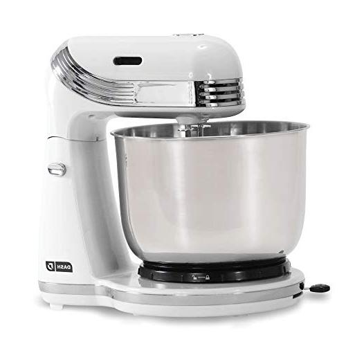 Dash Stand 6 Stand Mixer with Hooks for Dressings, Frosting, & More - White