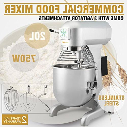 OrangeA Food Mixer Electric Commercial Grade 20 Quart 1HP Dough Mixer Speed Silver