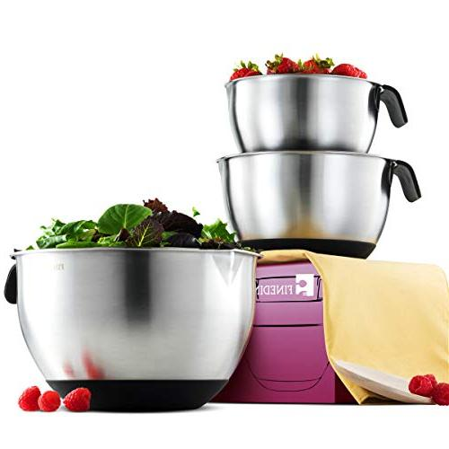 FineDine Stainless Bowls - Nesting 18/8 Stainless Kitchen Prep Serving With Rubber Grip Handle, Easy Pour Spout Non Skid Bottom & Measurement