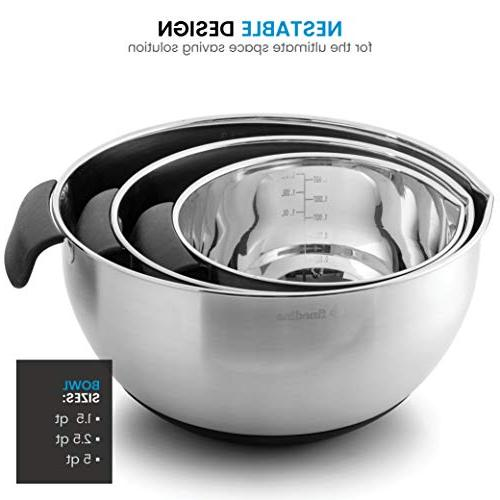 FineDine Stainless Bowls 18/8 Stainless Steel Prep Serving With Grip Handle, Easy Non Measurement Markings