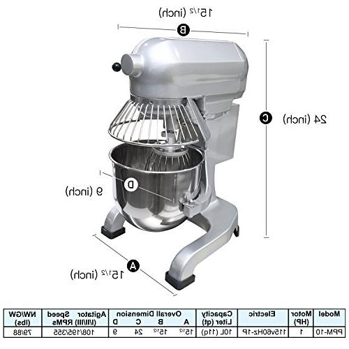 Commercial Stainless Steel Mixer, 10-Quart PPM-10 Small Heavy Mixer Stand Bowl