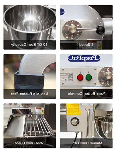 Commercial Stainless Food Mixer, 10-Quart PPM-10 Small Mixer Stand mixer Bowl