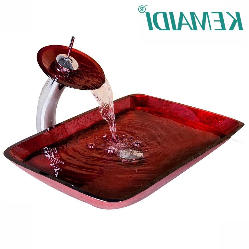 kemaidi luxury waterfall red rectangular hand paint