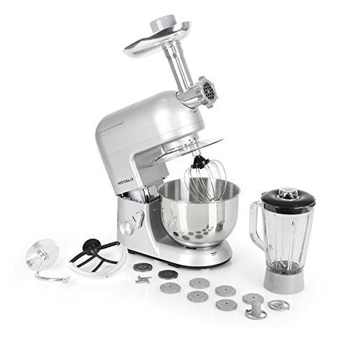 KLARSTEIN Argentea Multifunction Kitchen Machine Watts • Bowl Mixing Grinder Pasta Maker • Speed •