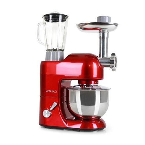 KLARSTEIN Lucia Rossa Kitchen Machine • Multi-function Stand Mixer 650 • 5.3 • qt Glass • • Blender • Red
